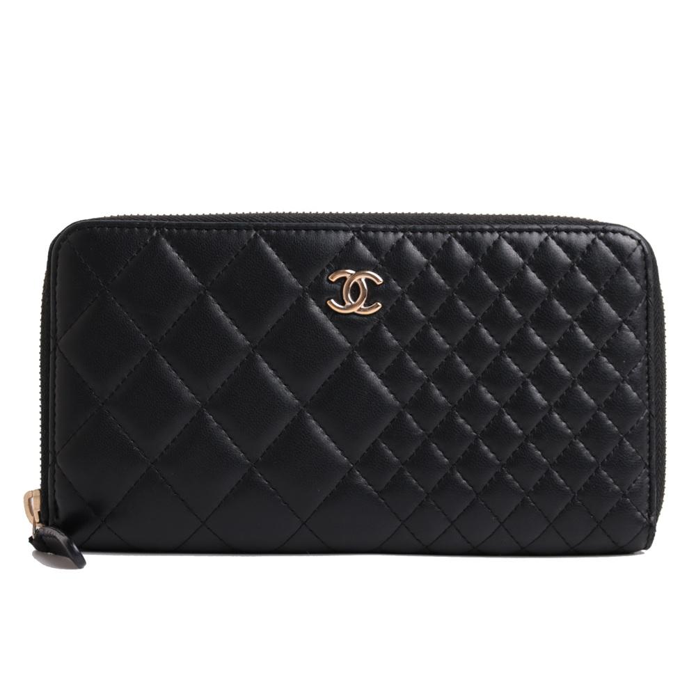 [고이비토 마산신세계점] Chanel(샤넬) 블랙 퀼팅 금장 COCO 로고 짚업 장지갑