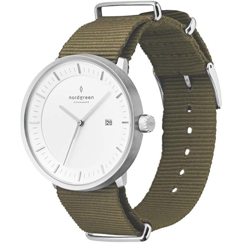 Nordgreen 노드 그린] [Philosopher] 남성 실버 미니멀 40mm (대) 시계 그린 나일론 스트랩