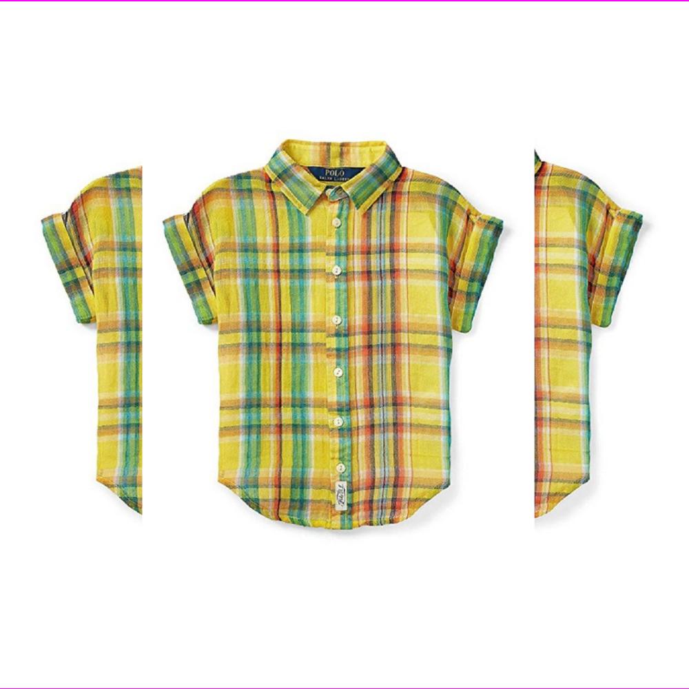 랄프 로렌걸 반팔 체크 단추 다운셔츠 옐로우 14사이즈 제안 소매가 45달러