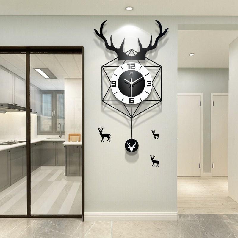 jjt 무소음 거실 인테리어 사슴 뿔 벽시계, JT19129(44x76)