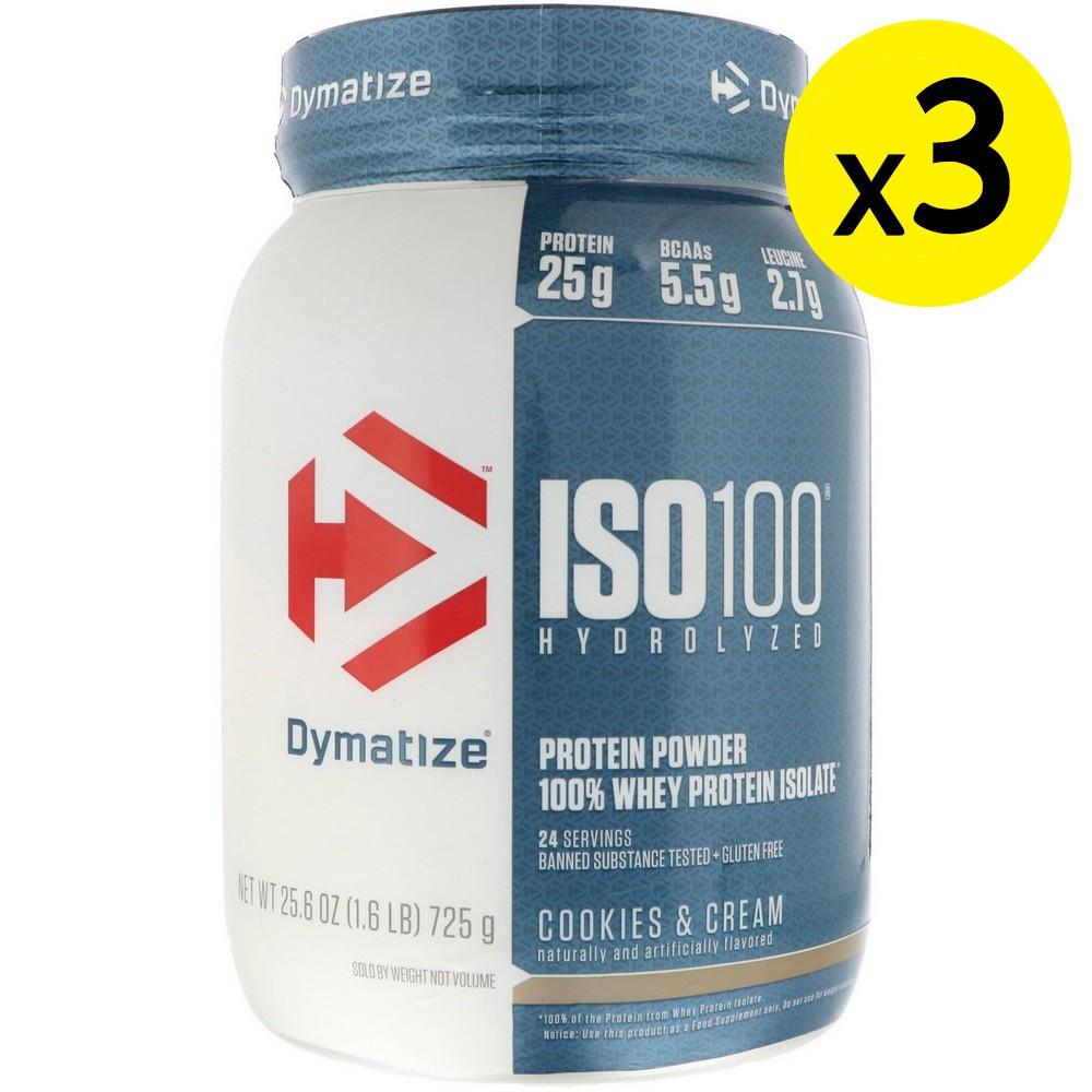 [미국직구]Dymatize Nutrition ISO 100 하이드롤라이즈드 100% 웨이 프로틴 아이솔레이트 쿠키 앤 크림 725 g(1.6lbs) 3개, 선택, 상세설명참조