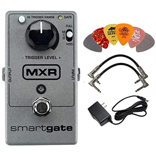 MXR M135 스마트 게이트 노이즈 게이트 효과 9 볼트 DC 1000mA 두 금속 엔드 기타 패치 케이블과 6 개의 Dunlop 기타 피크위한 AC DC 어댑터 전원을 가진 페달 무리, 본상품