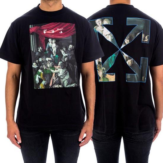 오프화이트 20FW 카라바지오 오버 티셔츠 OMAA038E20JER005