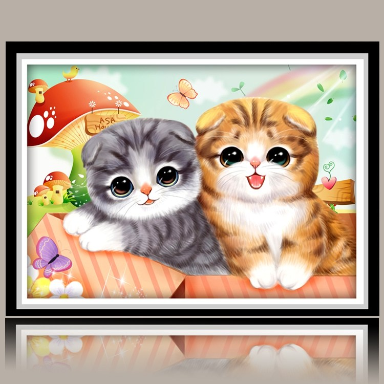 보석십자수 아기 고양이 집에서 할수 있는 하는 취미 펜 도구 캔버스, 풀 다이아몬드 【50 * 35CM】 다이아몬드 펜 9 개 보내기
