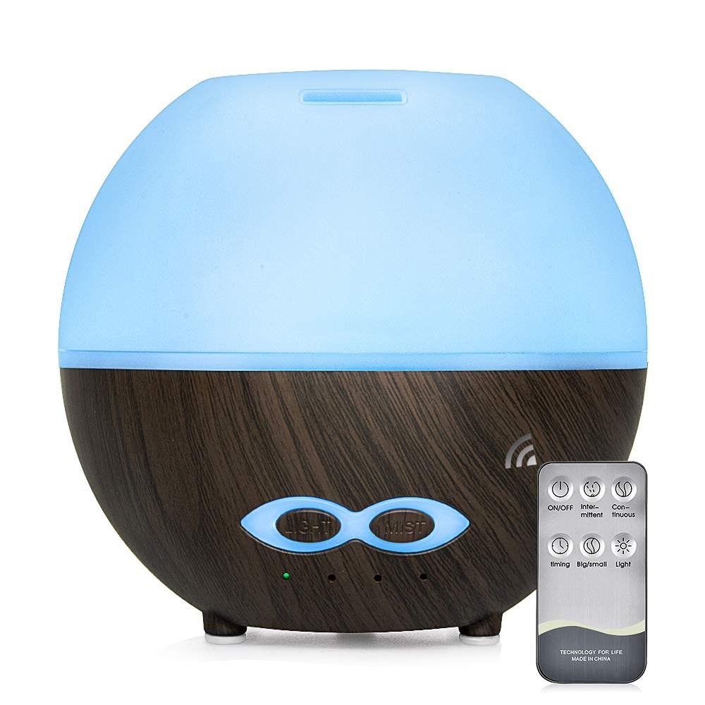 mixigoo 에센셜 오일 에어 미스트 디퓨저 -400 미리리터 조용한 아로마 조절 쿨 가습기 모드 7 LED 컬러 조명 사무실 홈 침실 거실 변경, 1개
