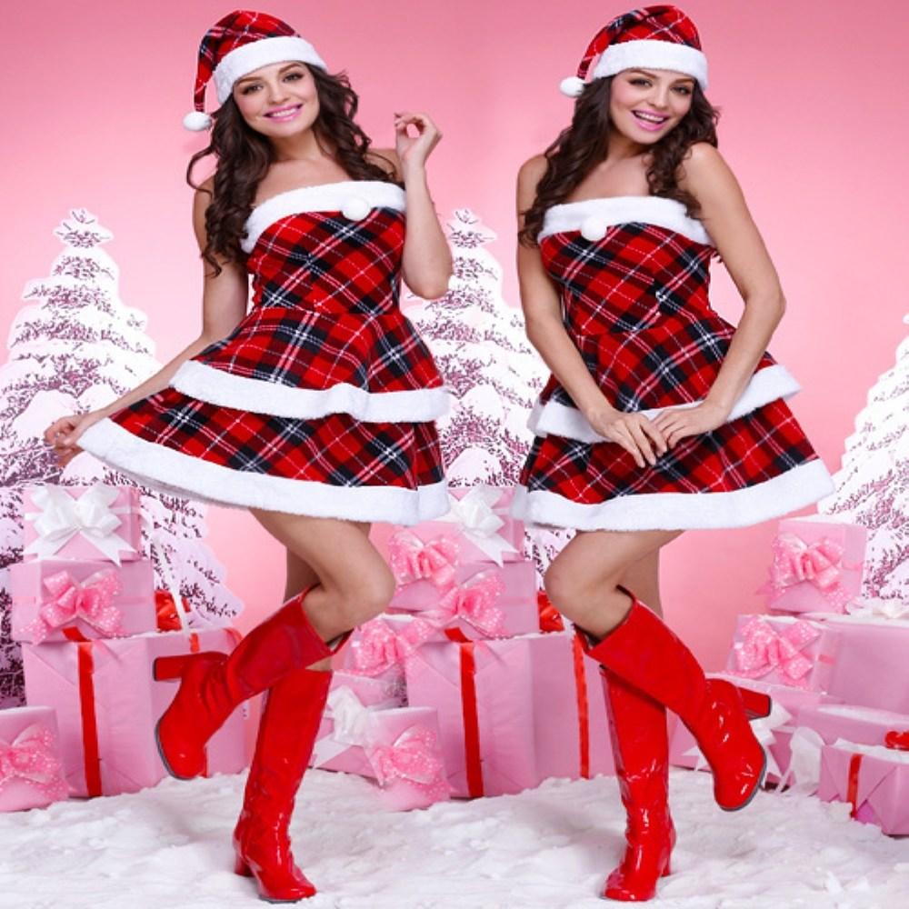크리스마스 의상 레드 체크 산타복 원피스 무대 세트 성인 파티룩