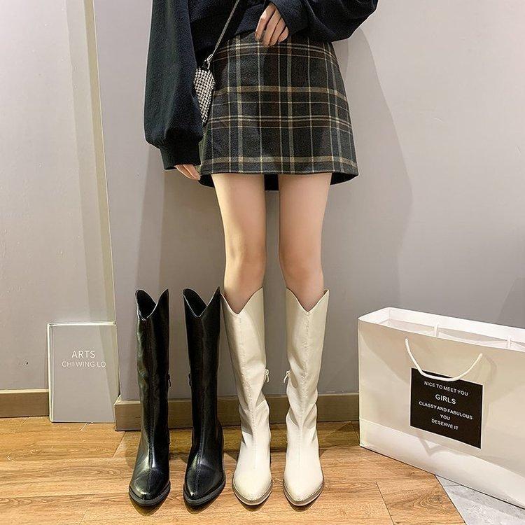다리 길어보이는 여성 롱부츠 웨스턴 부츠 굽 5cm