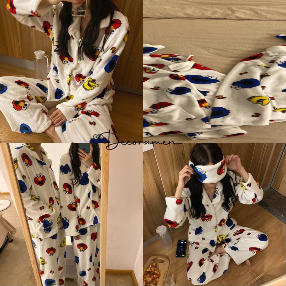넉넉한 사이즈 자체생산 복숭이 극세사 수면 커플잠옷 세트 겨울 파자마 홈웨어 안대 포함