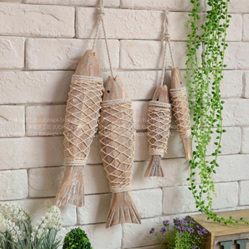 베란다 홈 포차 인테리어 지중해 원목 물고기 벽 장식 여름 모빌, L 2마리