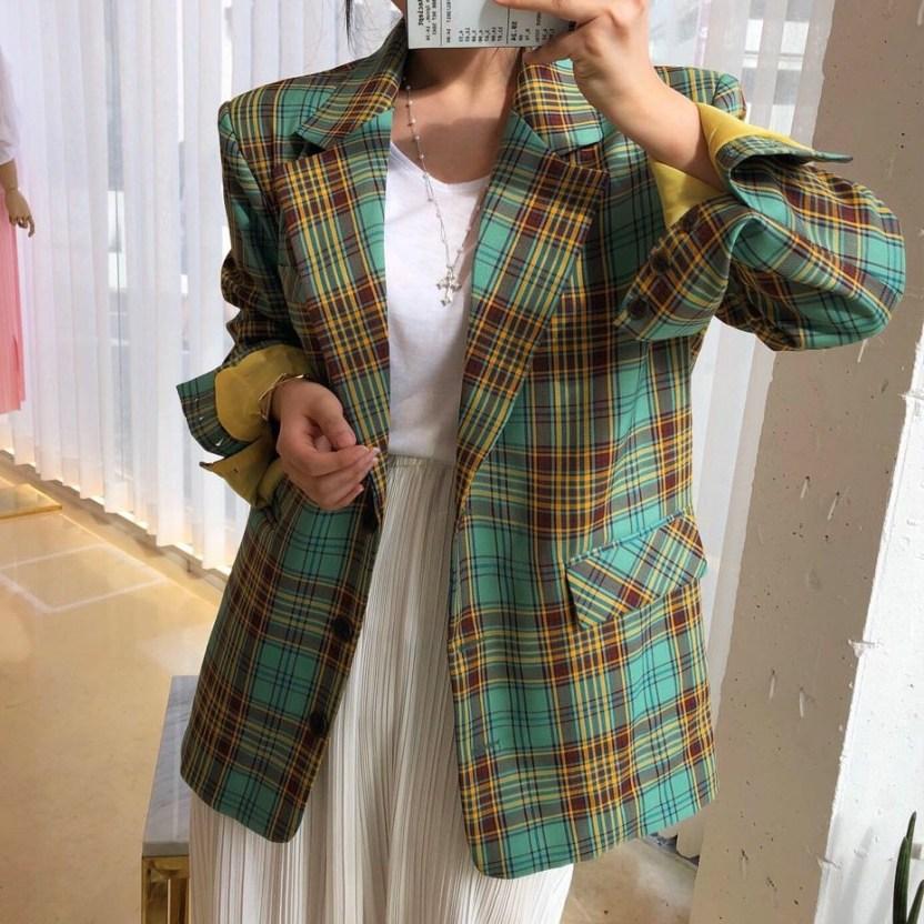 나라라오리 여성체크 자켓 재킷 오버핏 복고자켓
