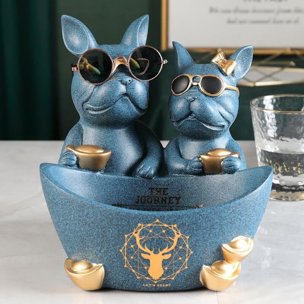 불독 리모컨 차키 트레이 보관함 북유럽 인테리어 다용도 악세사리 시계 화장품 열쇠 보관함 데스크탑, 충실한 도그 블루 430+ 리얼 안경