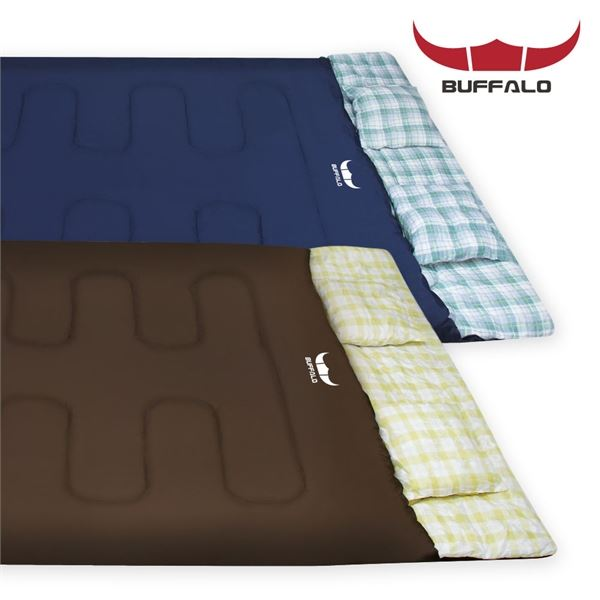 BUFFALO 더블 침낭 220x150 2인용 캠핑 침낭 커플침낭, 필수선택/더블침낭_네이비