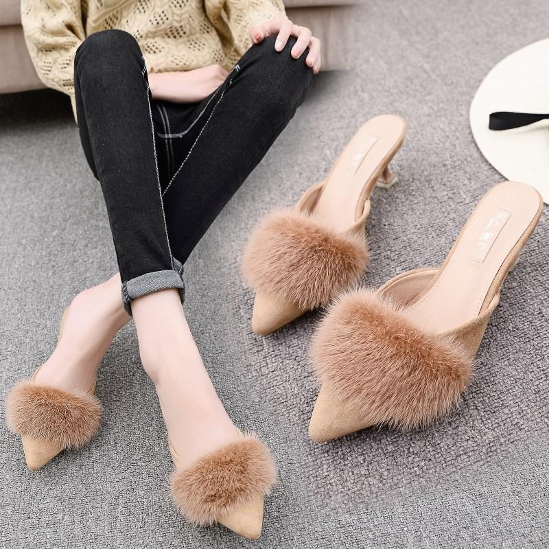 뮬 2019뉴타입 밍크털 여름슬리퍼 여성하이힐 스틸레토 미드힐 발가락까지덮는스타일 뾰족한 편안한 반슬리퍼
