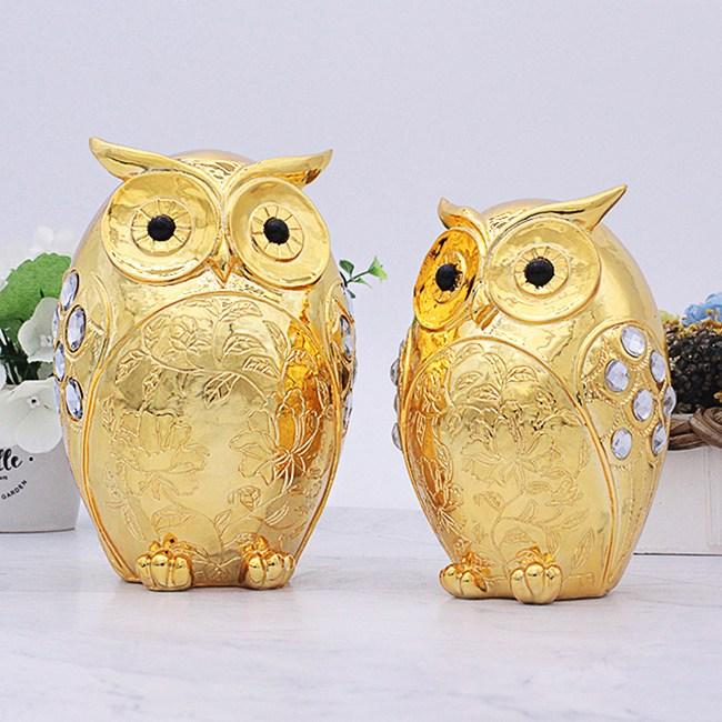 골드디자인 골드도금 황금 부엉이장식품 RGG214 2P SET 인테리어소품 개업선물 집들이선물