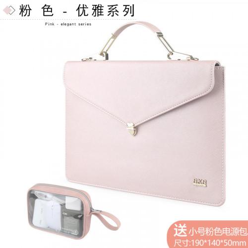 BKB 애플 에어 컴퓨터 가방 맥북 13.3 인치 노트북 휴대용 라이너 홀스터 맥 프로 레드 라이스 RedmiBook 14 인치 12.5air 보호 커버, 선택 = 13.3 인치 핑크 파워 팩