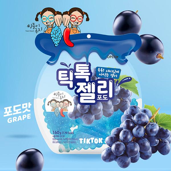 틱톡 젤리 포도 160g (40g X 4봉) 쌍둥이루지, 8개