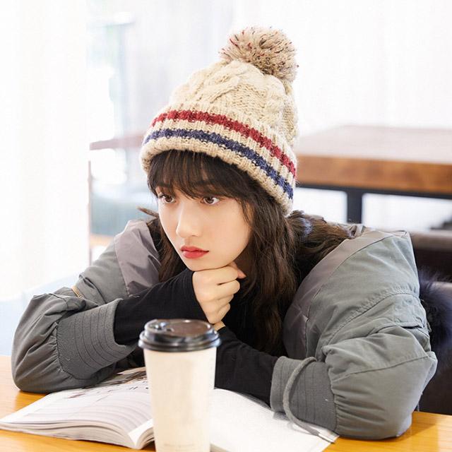 리틀몬스터 방울털 여성 남성 니트 겨울 모자 방한