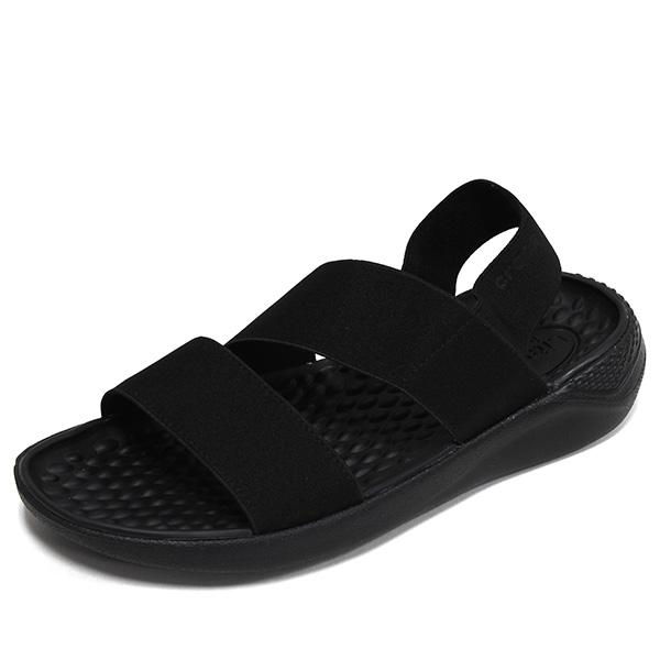 크록스 라이트라이드 스트레치 샌들 트리플블랙 남자 여자 학생 스트랩 여름 물놀이 신발 206081-060