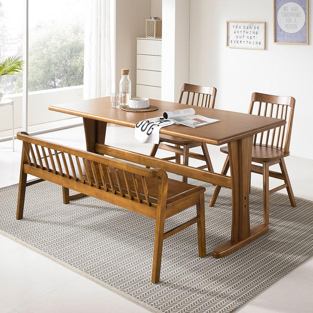 라로퍼니처 킹 6인용 원목 식탁 세트 벤치형A(식탁+의자2+벤치1) 식탁세트, 단품
