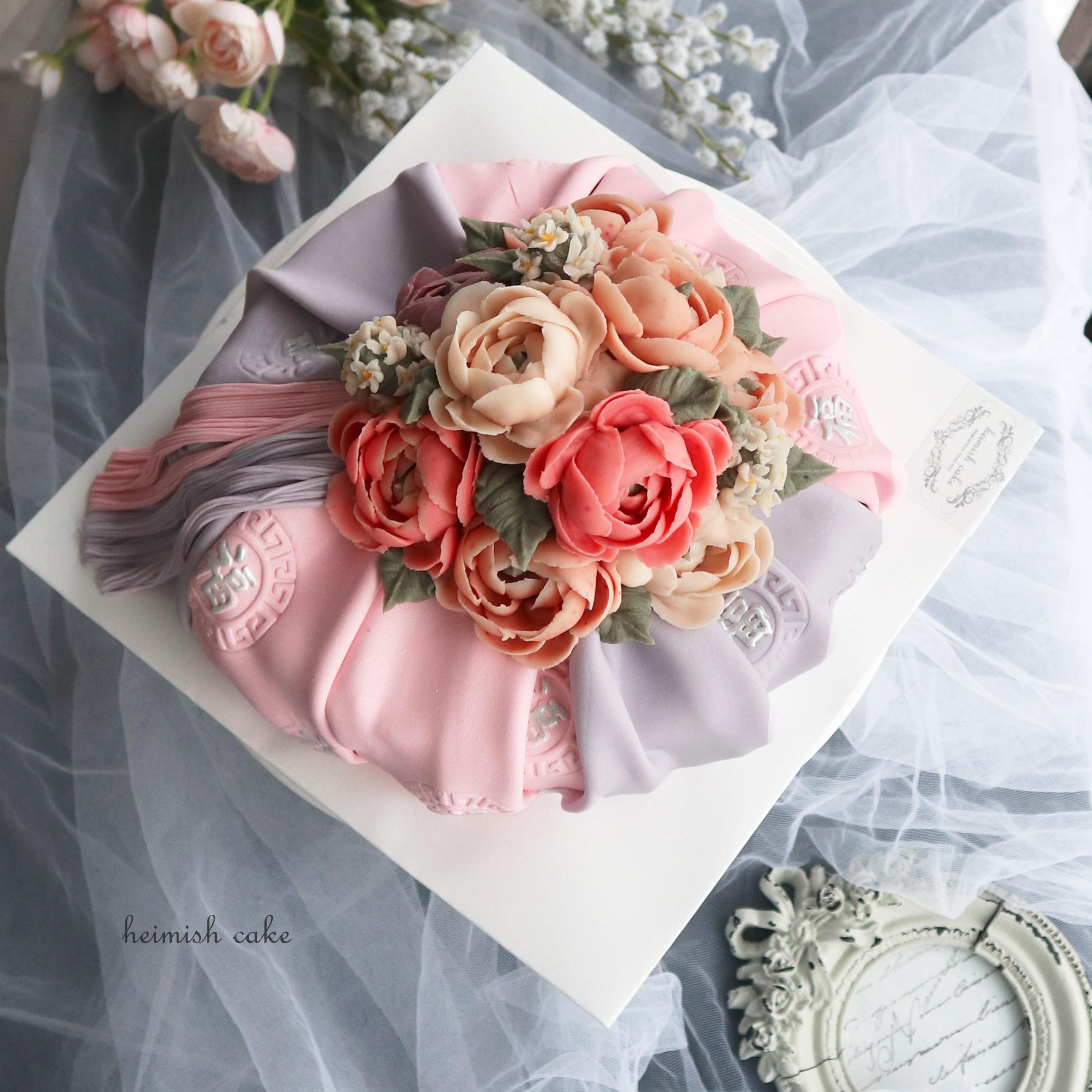 HEIMISH CAKE 앙금보자기떡케이크 - 꽃소담 PINK, 1개