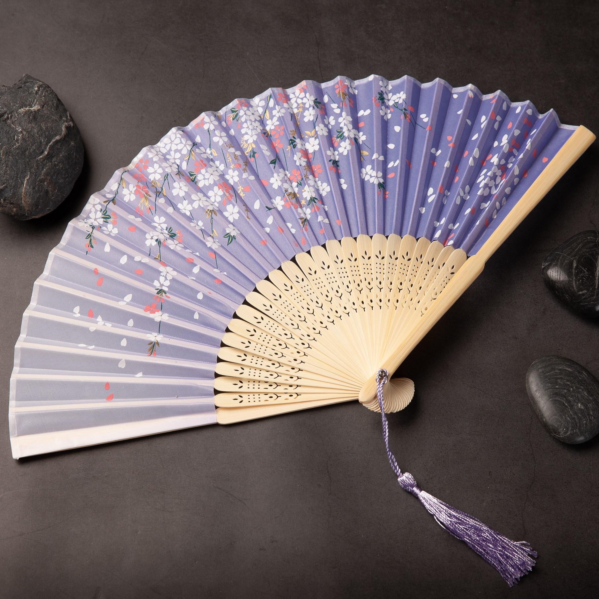 하마공방 전통공예 답례품 수공예 타공 실크 전통 여름 부채 (봄바람 휘날리며), 1개