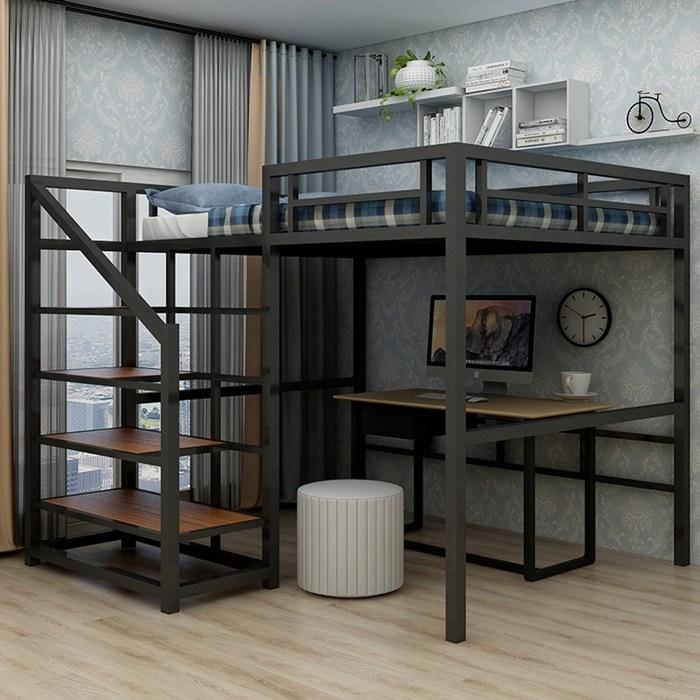 원룸 공간활용 성인 철제 벙커 이층 침대, 타입B 블랙