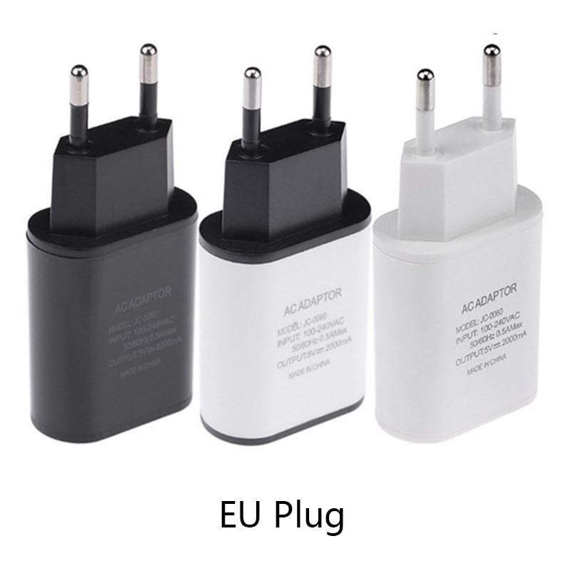 Eu 플러그 usb 충전기 5v2a 안전 빠른 충전 usb 어댑터 유럽 여행 속도 벽 충전기 아이폰 xs 최대 xr 삼성 s9 s10, 1개, WHITE