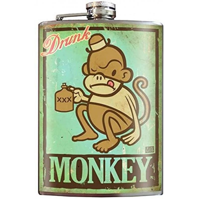 술에 취한 원숭이 유쾌한 선물 아이디어 플라스크-8oz 스테인리스 스틸 플라스크-선물 상자에 포함-Trixi