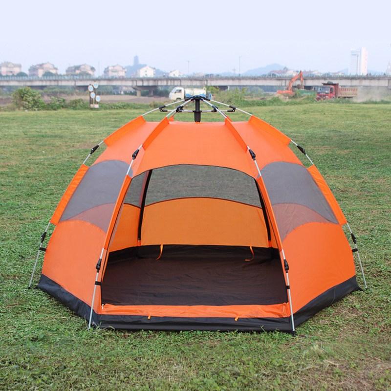 [유쉬터] 원터치 육각 텐트 5-6인용, 오렌지