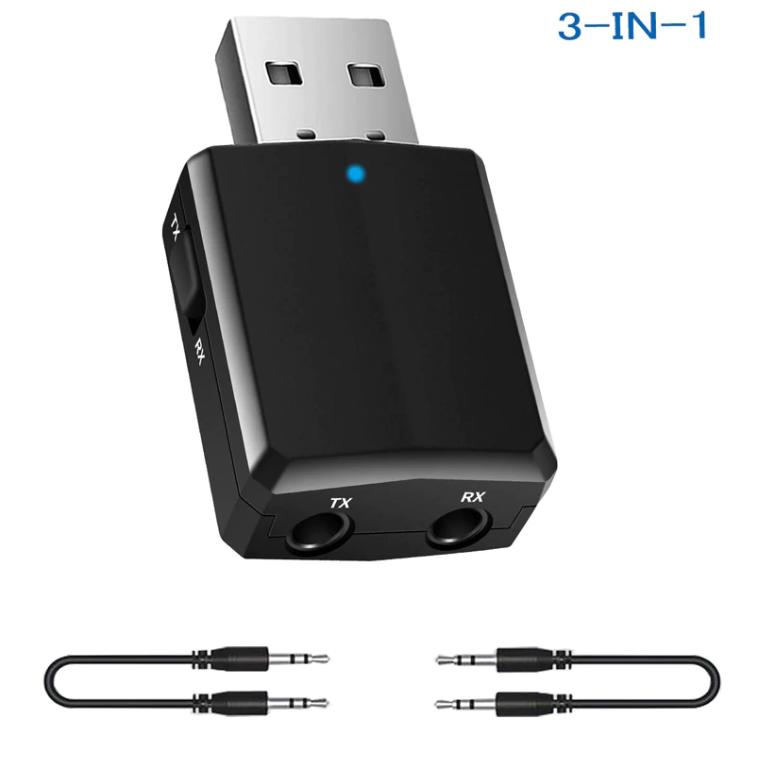 3in1 블루투스 동글이 5.0 데스크탑 TV 컴퓨터 자동차, 단일상품