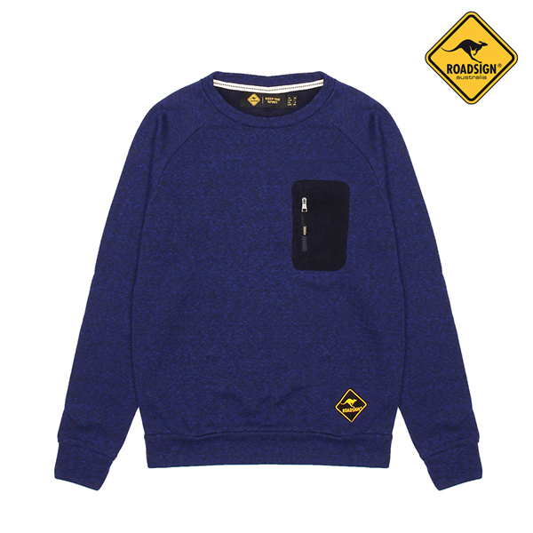 로드사인 [로드사인] P 유니 멜란지 맨투맨 티셔츠-RDTX723A_BL