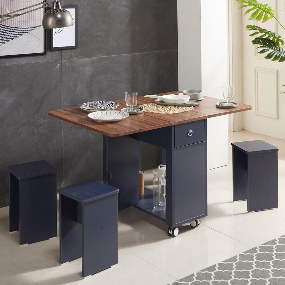 스킬디자인 프리티 접이식테이블+의자2개포함 세트구성 식탁, 테이블/월넛+의자2개(네이비)