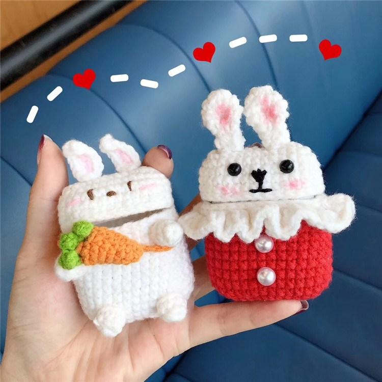 웜허그 깡총이 토끼 수제 뜨개질 에어팟케이스 2type 당근토끼 TYPE