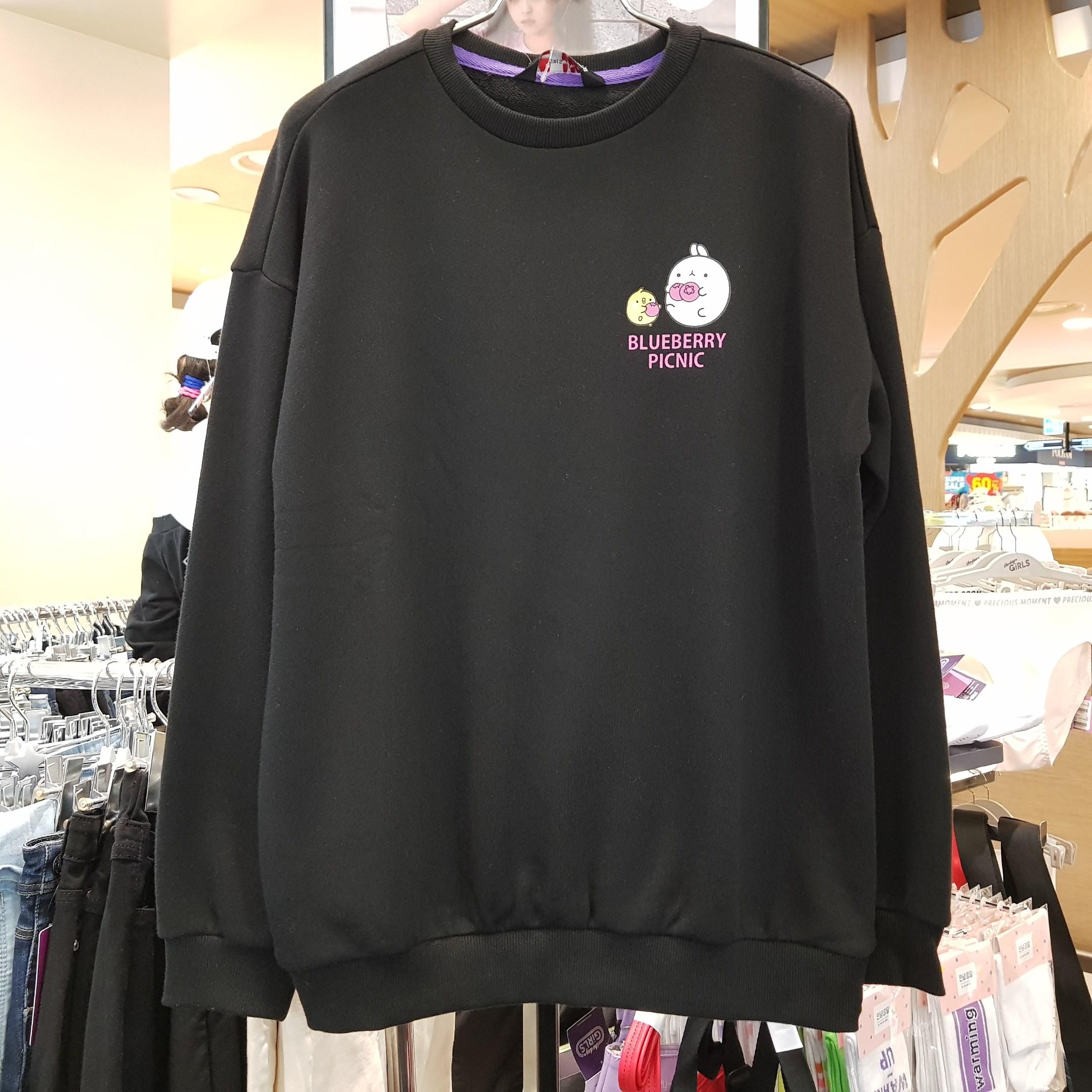 더데이걸 뒷면이 예쁜 피크닉 몰랑이 블랙 맨투맨 티셔츠