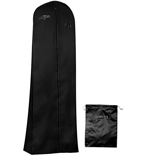 내구성이 뛰어난 웨딩 드레스 및 긴 드레스가먼트 백 여행용 보관함 72 인치 (10 인치) 라이너 통기성 (Black)