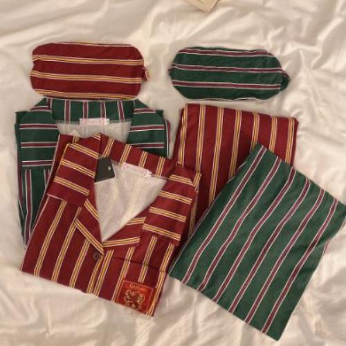 쏘씽 옥스퍼드 해리포터 수면 그린핀도르 슬리데린 커플 스트라이프 잠옷 파자마 홈웨어