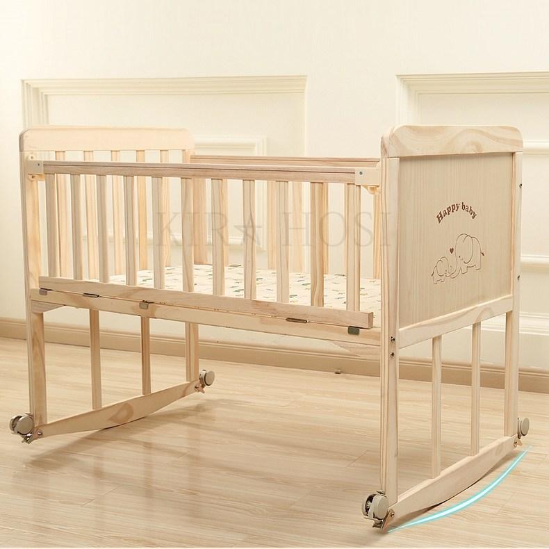 kirahosi 신생아 원목 아기 침대 베이비 아기침대 다기능 3호 + 덧신 증정 BZubmdeb, 단층 (대)