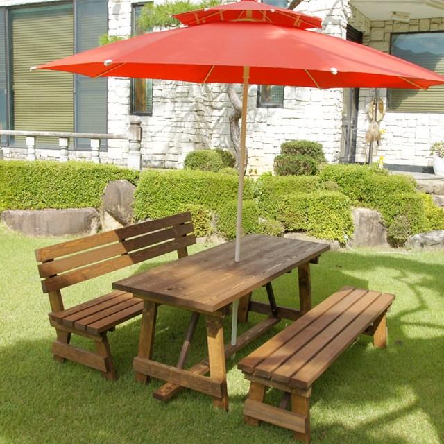 엉클트리 분리형 야외 테이블 원목 야외용 탁자 세트 정원 마당 파라솔 별매, (등평)4인용 한쪽 등받이(무도색)