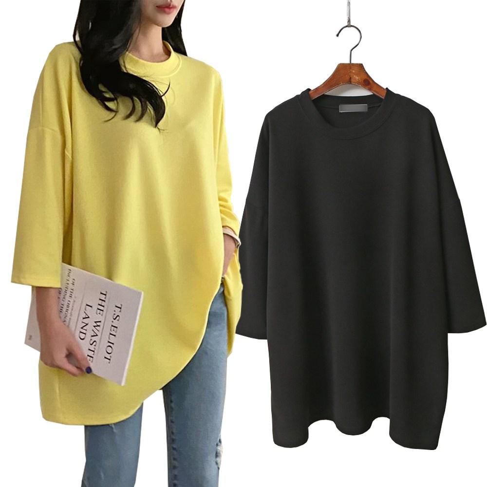 빅걸스토리 여성용 빅사이즈 소울 라운드 루즈핏 무지 기본 티셔츠 2p매드시스터 여성용 레코드 오버핏 반팔 롱 티셔츠[1+1]코