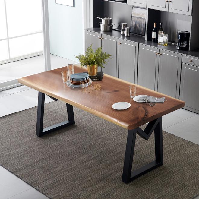 헤이미쉬홈 리오 모던 뉴송 우드슬랩 통원목 6인용 식탁 테이블 1800, 투톤