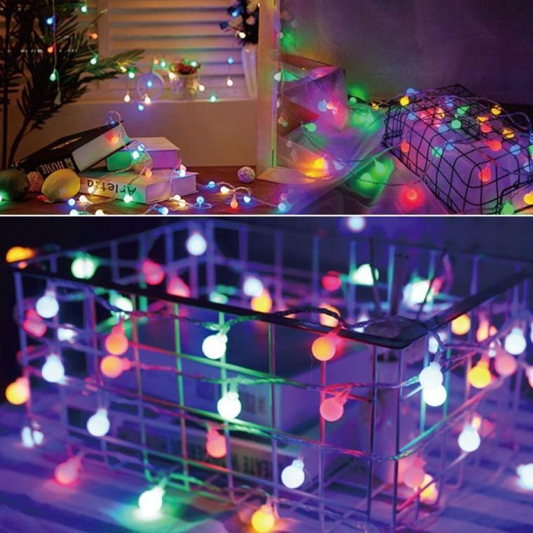 갬성 홈캠핑 칼라 크리스마스 장식전구 40구 앵두전구 건전지타입, 상세페이지 참조