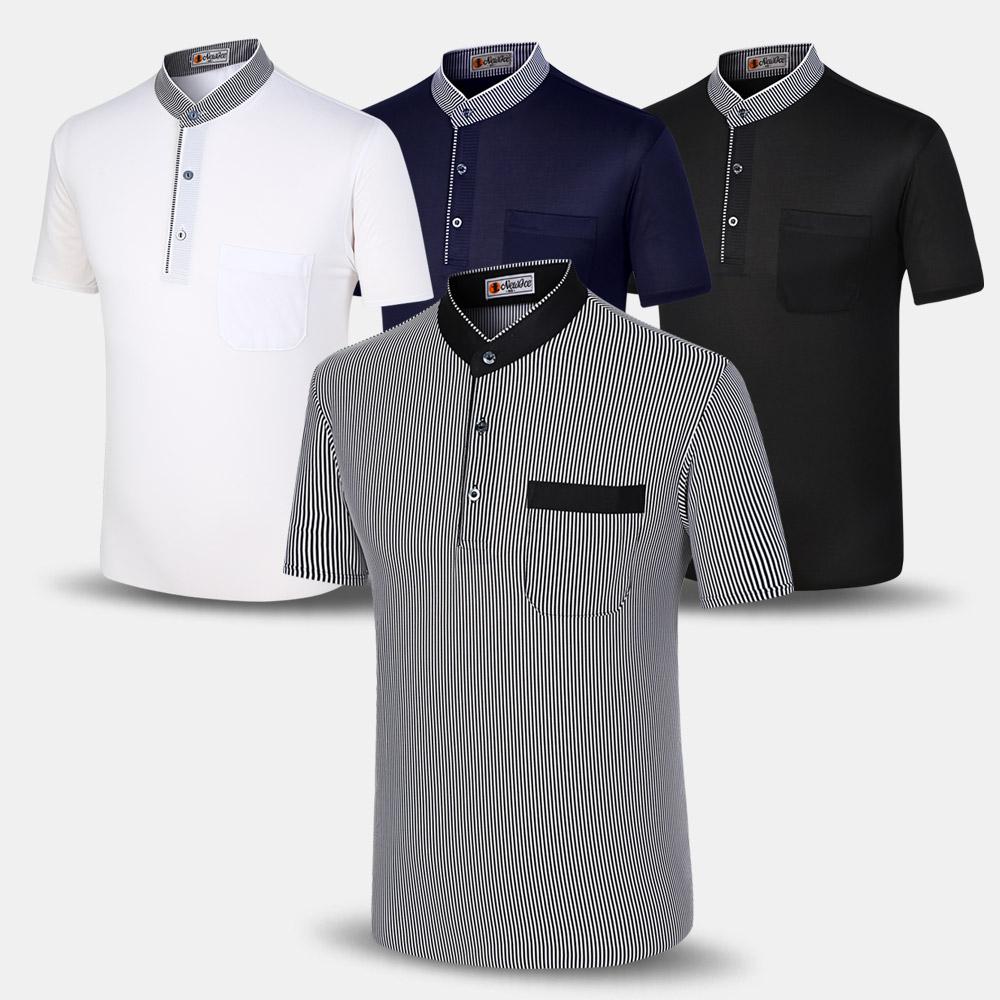 남성 여름 TR 반팔 차이나 티셔츠 NACTR 중년 아빠옷 (POP 240520411)