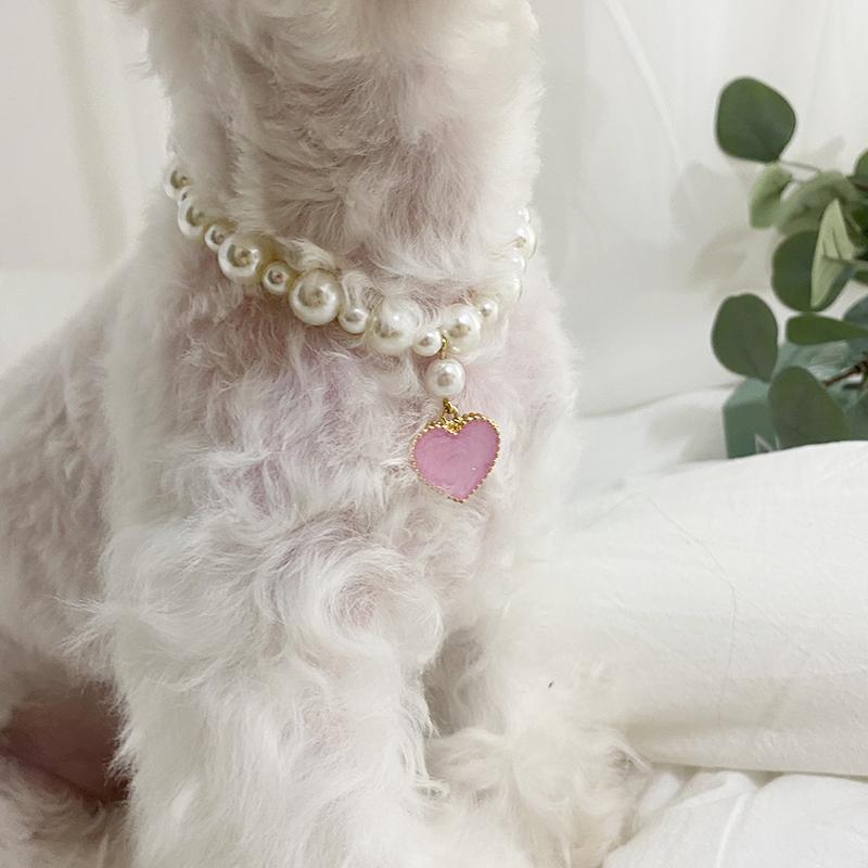 [무료각인이벤트]데댕 강아지 고양이 수제 고급 인식표 진주 각인목걸이_(6color/XS-2xl), 미진행, 핑크 (POP 5331613967)