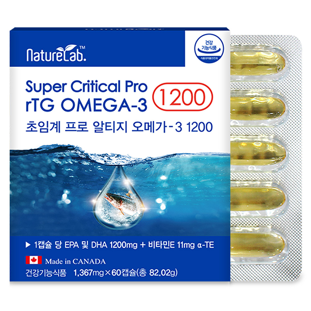 캐나다 알티지 오메가3 1200 저온초임계추출 EPA DHA rTG 오메가3 비타민E 함유 영양제, 1박스