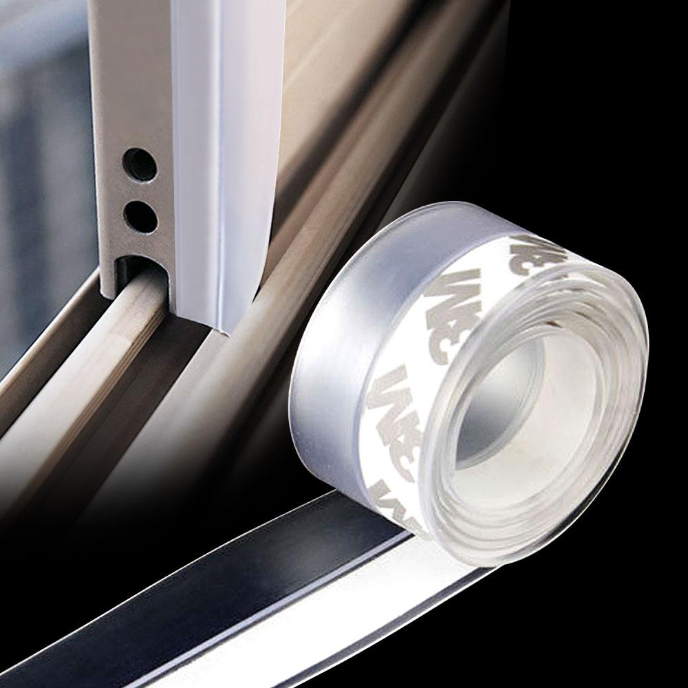 실리콘 문풍지 투명 (1M) 틈새문풍지 창문틈새막이, 1개