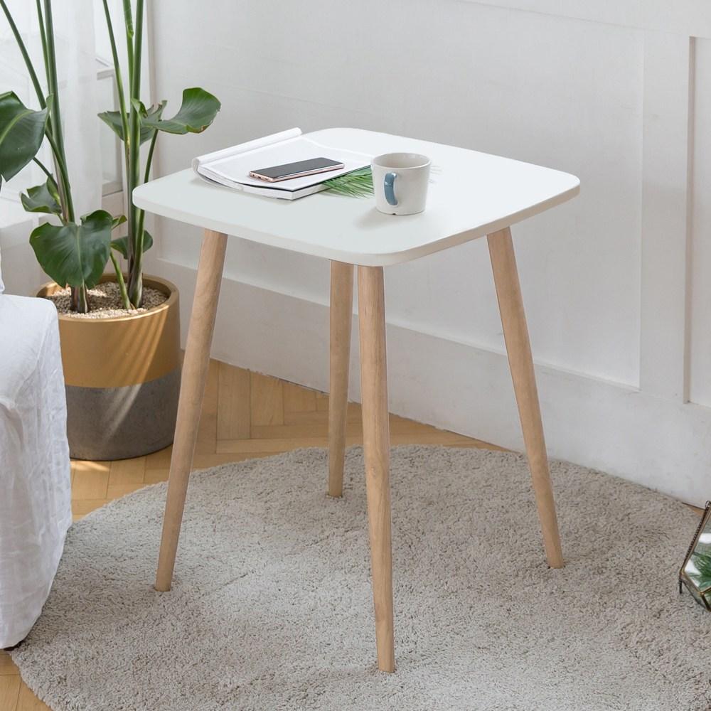 룸스퀘어 원목 카페테이블 커피테이블 티테이블 모음, 03_사각카페테이블600(화이트)