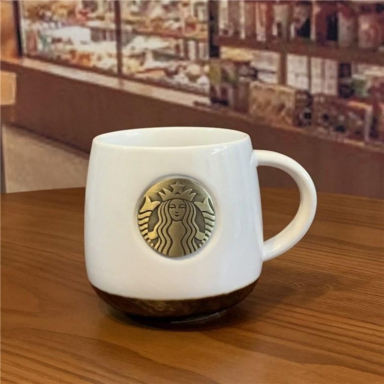 starbucks 스타벅스 컵 세라믹 머그컵 브론즈 로고 클래식디자인 414ml, 화이트