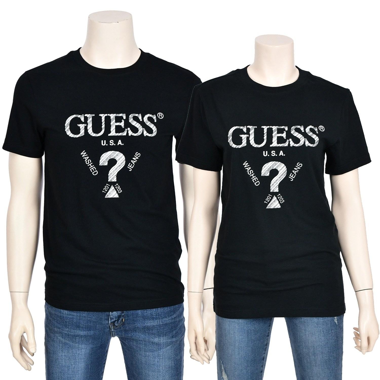 GUESS [게스] 남녀공용 무테 사선발포 반팔 티셔츠_MK2K9421