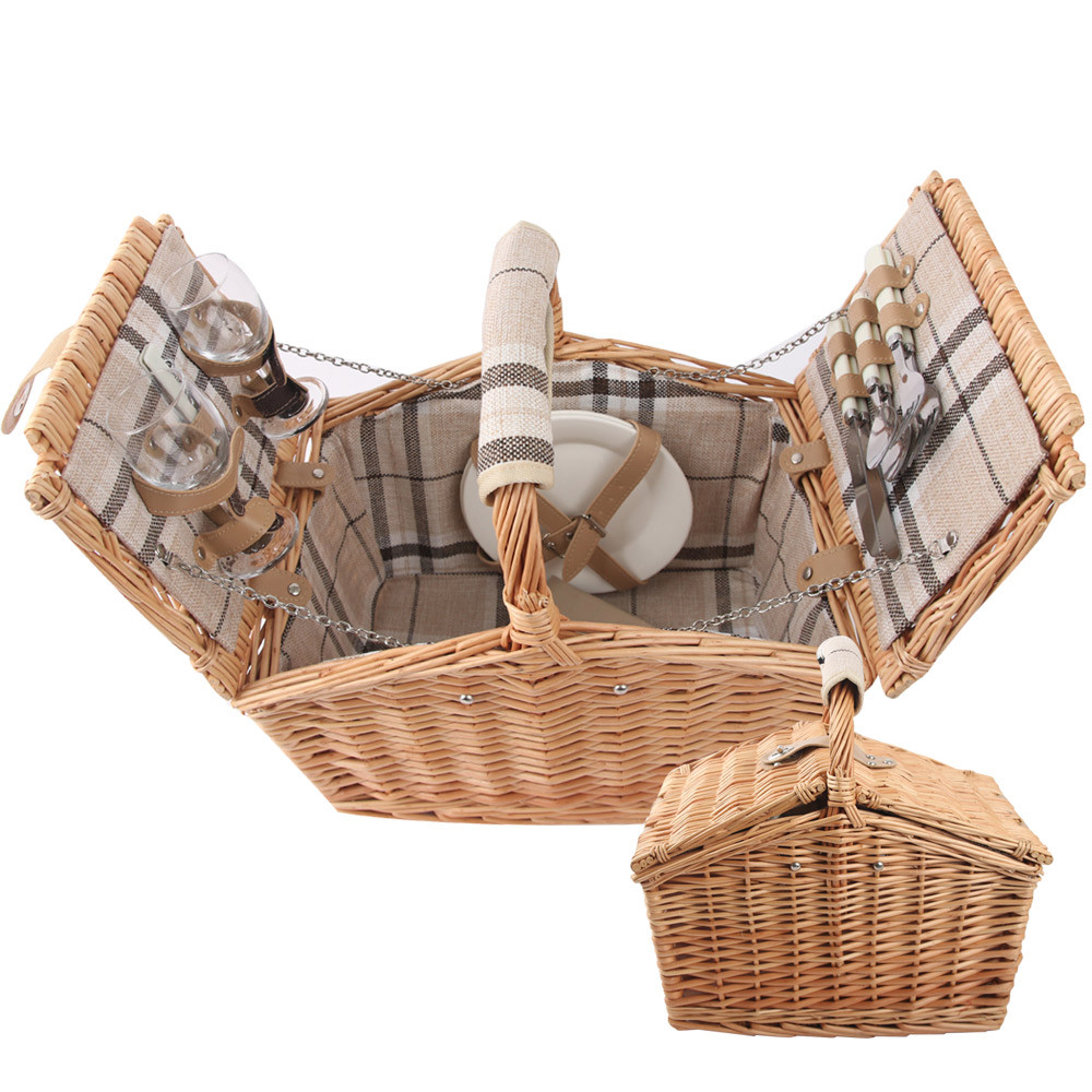 JKSPORTS 버드나무 피크닉 바구니 풀세트 식기세트포함 나들이가방 소풍 핸드메이드 바스켓 중형, 1개, 버드나무 피크닉바구니+식기세트포함