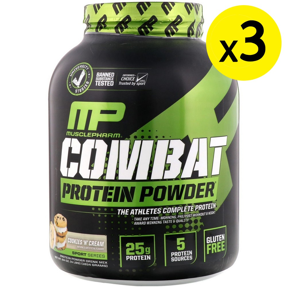 [미국직구]MusclePharm 컴베트 파우더(Combat Powder) 향상된 타임 릴리즈 단백질 쿠키 앤 크림 4lb (1814g) 3개, 선택, 상세설명참조